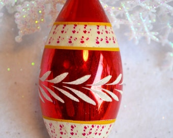 Vintage Mercury Glass Ornament - Red Decorated Teardrop