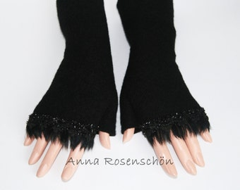 black mittens pailletten pearls feathers arm cuffs wrist warmers wool  fingerless gloves  arm warmers