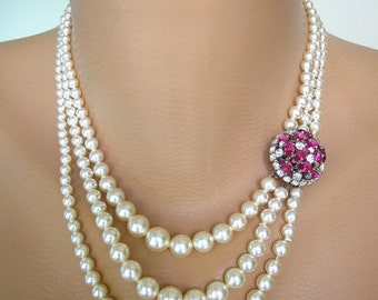 Ruby Choker, Pearl Choker, Pearl Necklace, Mother of the Bride, Bridal Jewelry, Pink Rhinestone, Pearl And Ruby Necklace, Fuschia Rhinestone