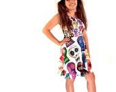 Day of the Dead Skater Dress - printed flared tank dress - sugar skulls dress - photographic embroidered sugar skulls - USA XS-3XL