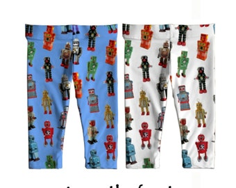 Baby Leggings - Vintage Robots Printed Leggings - novelty robot photos boys leggings