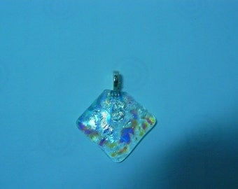 Handmade Clear Dichroic fused glass Pendant
