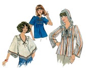 1970s Hooded Top Pattern Pullover Long Sleeve Tunic Angel Sleeve Hoodie Simplicity 7811 Bust 32 Vintage Sewing Pattern Pullover or Zip Up