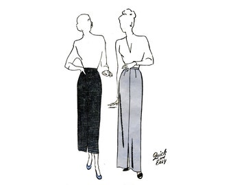 1940s Easy Slim Skirt Pattern Straight Skirt Calf Length Butterick 4699 Plus Size Waist 34 UNPRINTED Vintage Sewing Pattern