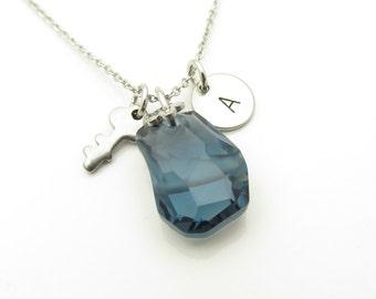 Swarovski Necklace, Swarovski Divine Rock Pendant Necklace, Montana Blue, Personalized Initial Necklace, Key Necklace, Stainless Steel Y309