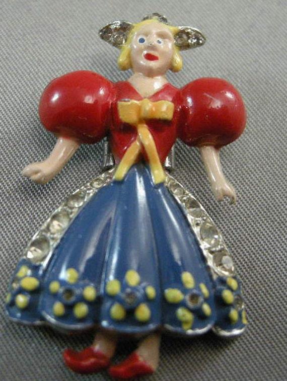 Rare Coro Dutch Girl Fur Clip, Jewelry Designed by Adolph Katz 1940s, Coro Fur Clip,Vintage Deco Fur Clips,Dutch Girl Fur Clips,Rare Clips