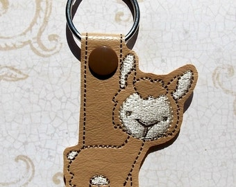 Alpaca Key Chain, Llama Key Fob, Brown, Christmas In July Sale, 20% off