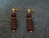Elegant Root Beer Glass and Brass Dangle Earrings