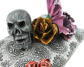 Still Life Relic with Skull and Flowers - Carnation Leaves Rose Buds Pink Yellow Red Green Gray Death Scary Pillow Cushion Paisley Cranium