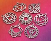 7 Chakra Pendants, 7 pc set, Chakra Charms,   Symbols of Chakra