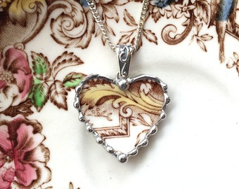 Broken china jewelry - heart pendant necklace - antique aesthetic brown transferware - yellow flourish