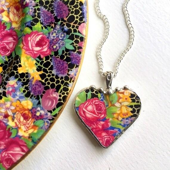 Broken china necklace. Broken china jewelry heart pendant antique Hazel chintz recycled china