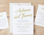Instant DOWNLOAD Printable Wedding Invitation Template   Romantic Script   Word or Pages   MAC or PC   Editable Artwork Colors