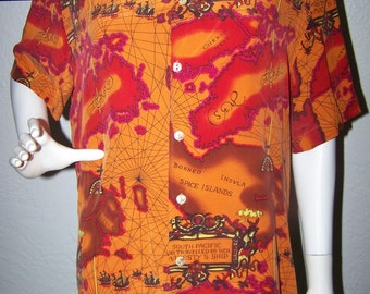 Vintage Anne Pinkerton Men's Nautical Ship Top Shirt Size Medium 100% Silk Travel Map Unusual Casual Guy Dad Father Sailing Vacation Tourist
