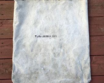 Vintage Heavy Canvas Drawstring Duffel Navy Laundry Bag Christmas Tree Bag Brass Grommets