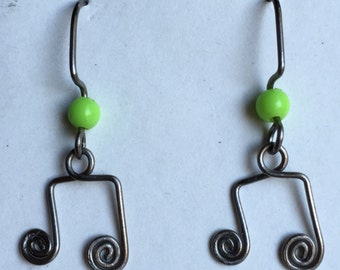 Grade 1 Titanium Musical 8th Note Earrings, Non-Allergenic Lightweight Dangles. Choose Bead Color to suit your Music Lover!