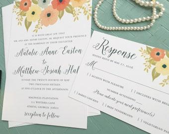 FLORAL WEDDING INVITATION Boho, Affordable DiY Flower Wedding Invitations, Romantic Invites, 3 piece Printable Set, Printed Suite - Natalie