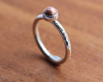 Copper Nugget Ring - Silver and Copper ring - Silver stacking ring