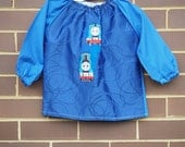 Kids art smock. Art smock for toddler age 2 to 3 years. Thomas train.