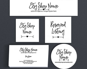 Etsy Shop Covers - Etsy Covers Branding Package - Advance Startup W/ Business Card & Label Designs Etsy Cover Bundle -  Ella