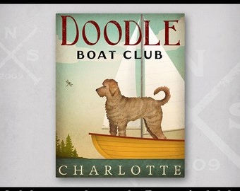 Goldendoodle CUSTOM PERSONALIZED Doodle  Labradoodle Dog Boat Sailing Club Canoe Ride Ready-to-Hang Stretched Canvas Wall Art Signed