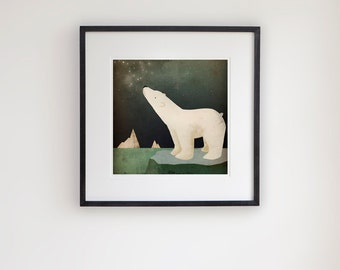 Earth Day CONSTELLATION Polar Bear graphic art giclee print 12x12 inches FRAMED 20x20 inches signed