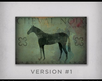 Free Text Customization BLACK HORSE TAVERN Cheval Noir Taverne Stretched Canvas Graphic Wall Art Sign  - Ready-to-Hang -  Signed