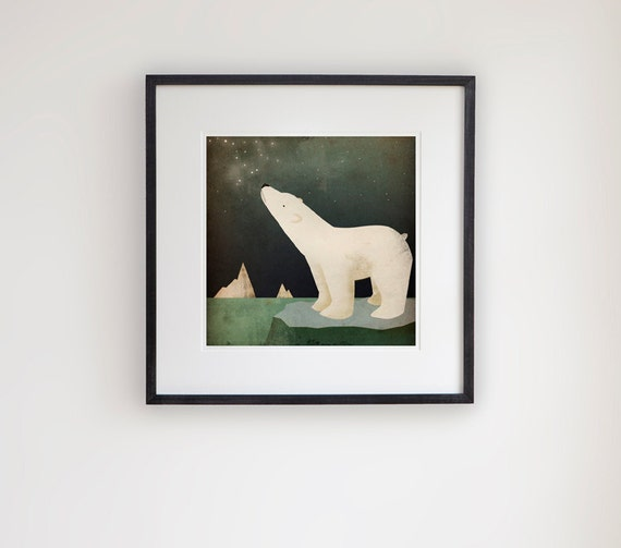 Earth Day Constellation Polar Bear Graphic Art Giclee Print