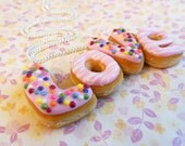 Polymer Clay, LOVE, Pink, Doughnut Letters Donut Words Necklace, Food Jewely
