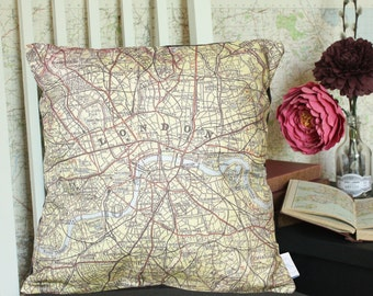London Vintage Map Cushion or Pillow