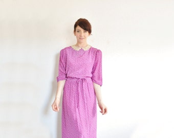 pink purple tiny floral print dress . lace peter pan collar .medium.large .sale