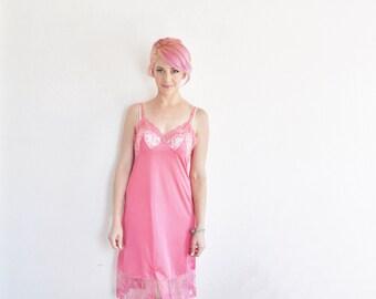 dark rose pink lace full slip . sheer scalloped under dress .small .sale