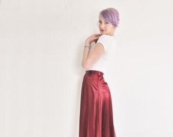 silky wine red skirt . high waist . shiny berry floor length skirt .small.medium