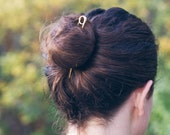 Loop Brass Hair Pin - Bun Pin Topknot Holder - 4 and 5 Inch Circle Tip Gold Brass for Fine to Normal Hair - by Mane Message on Etsy