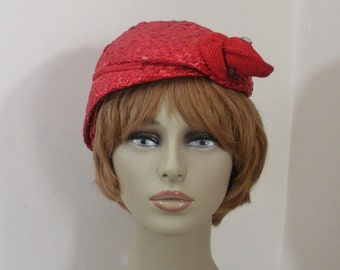 Vintage Red Straw Asymmetrical Profile Hat