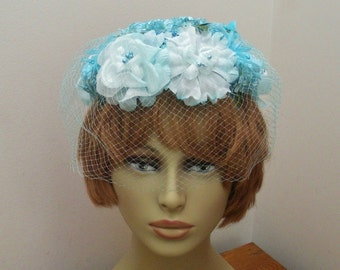 Vintage Turquoise Flowered Half Hat with Veil