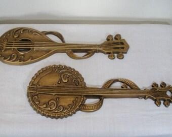 Vintage Sexton Metal Instruments Wall Hanging - Banjo and Mandolin