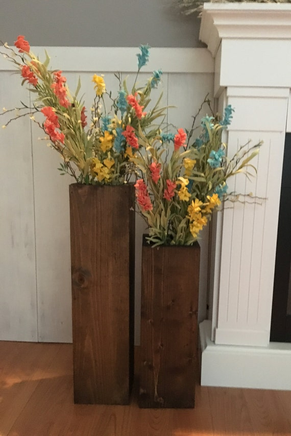Wooden vases reclaimed wood rustic vases floor by thewoodenowl - Great decorative flower vase designs ...