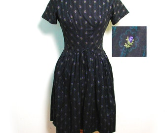 Vintage 50s Dress - Fab Black Rockabilly Dress with Wasp Waist and Purple Rose Print Sm - on sale