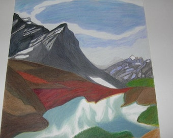Lake Peyto, Banff ,Alberta, Canada Original Drawing