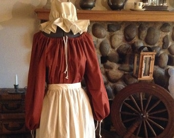 Medieval Renaissance Dress Apron Mop Hat