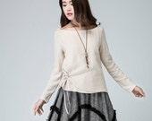 Linen Shirt ,Cream Skirt,Loose Fit Shirt, Women's Blouse, Casual Top,  Elegant T-Shirt 1479