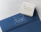 Oregon Address Stamp - Custom Return State Address Stamp, Wood Mounted or Self-Inking Address Stamp, Address Labels