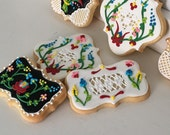 Hungarian Folk Art Flower Hand Decorated Cookies - 1 dozen