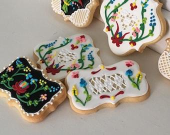 Hungarian Folk Art Flower Hand Decorated Cookies - 1 dozen