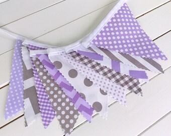 Bunting Banner, Photo Prop, Fabric Flags, Birthday Decoration, Girl Nursery Decor - Lavender, Purple, Plum and Gray Chevron, Gingham, Dots