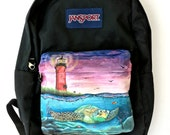 Custom Painted JanSport Backpack - Sea Turtle, Marine Life, and Jupiter Lighthouse Painting