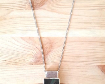 New Listing Sale...Striking RARE Modernist Black Lip Shell Sterling Silver 925 Rectangle Pendant. Perfect Gift. ETSY Gift. Gift for her