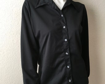 Vintage Women's 70's Black Blouse, Polyester, Long Sleeve by Lee Mar (M/L)