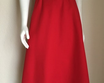 Vintage Women's 70's Levi's Strauss, Skirt, Red, Polyester, A Line (M)